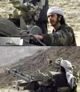 Saeed Alghamdi training with weapons in Afghanistan.